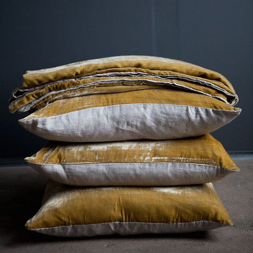 Velvet & Linen Throw - Dijon